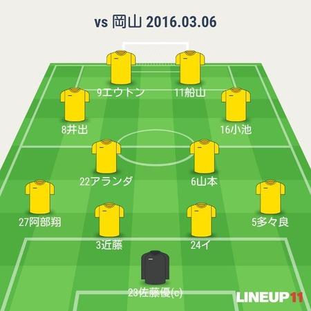 2016年J2第2節 ●1-2 ファジアーノ岡山